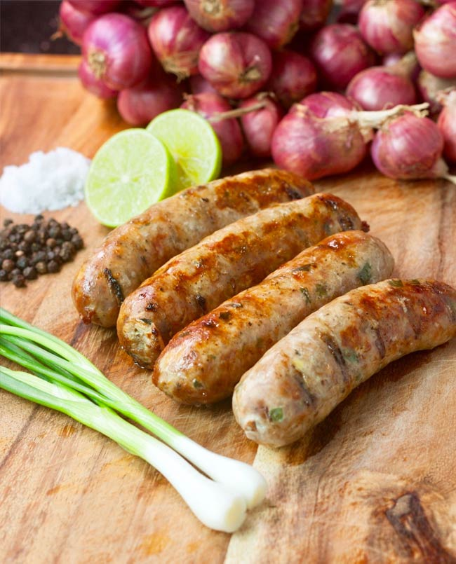 ginger and spring onion sausages 1