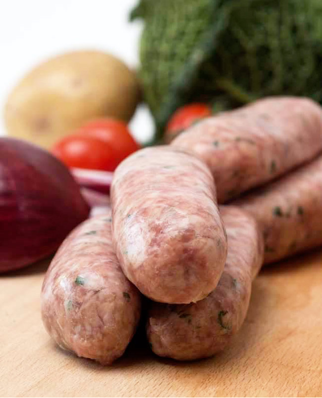 ginger and spring onion sausages