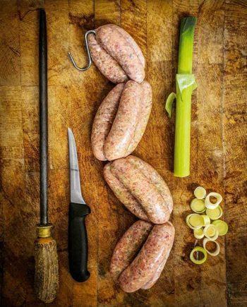 pork and leek sausages